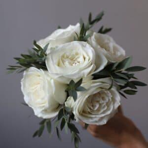 Свадебный букет из белых роз и эвкалипта №957 - Фото 48