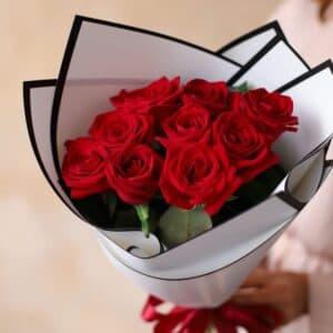 Монобукет из Российских роз (9 шт)  №1169 - Фото 20